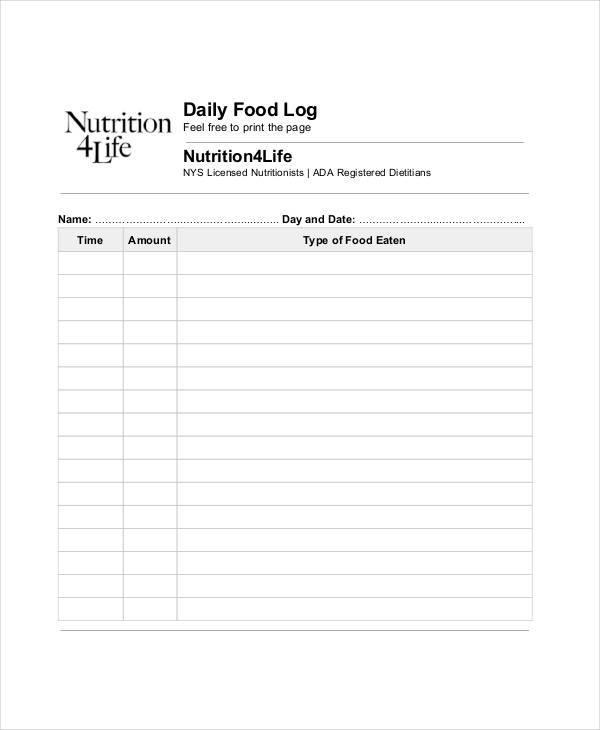 daily food log1