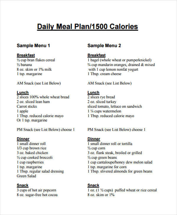 7+ Meal Plan Samples & Templates in PDF, Word