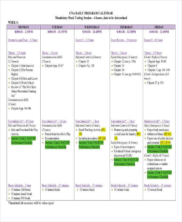 daily program calendar