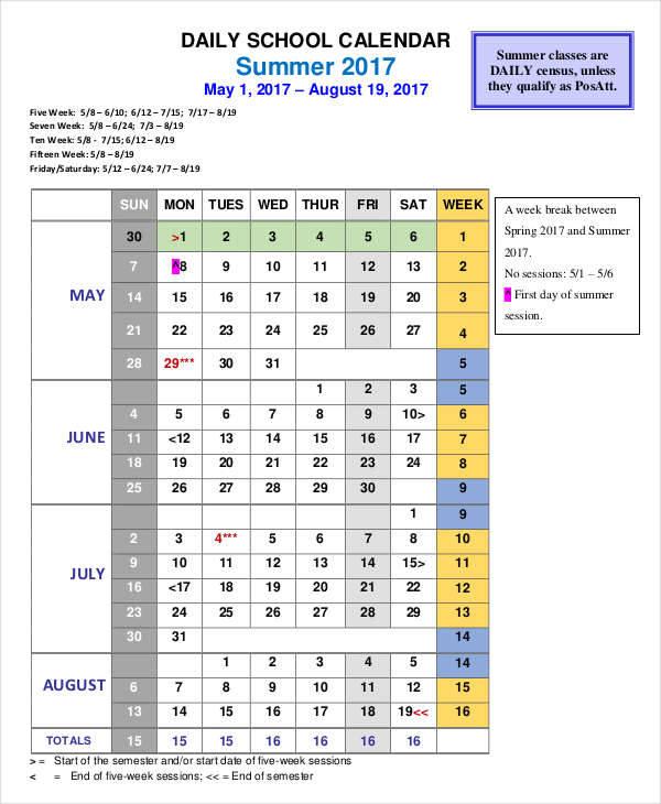 daily school calendar