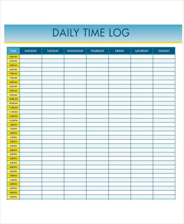 23 time log templates