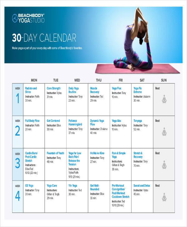 daily yoga calendar
