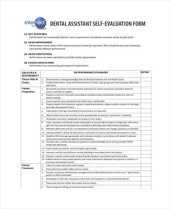 dental assistant employee self evaluation