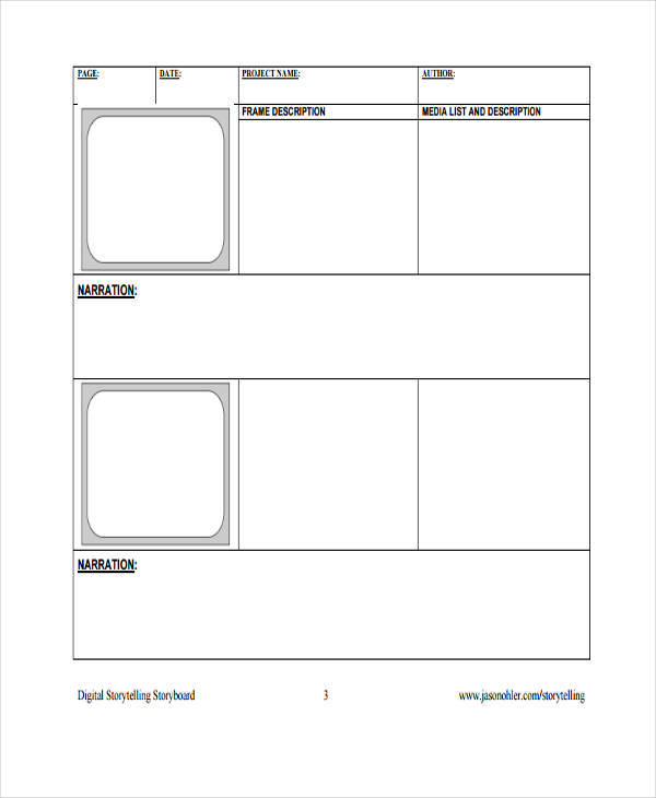 Media Storyboard Template  Free Sample Example Format Download