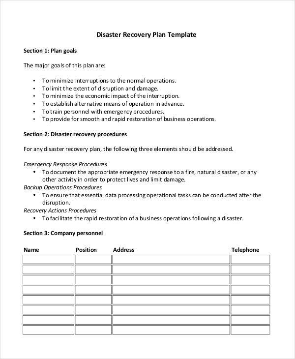 Recovery Plan Examples  Samples  Pdf Doc