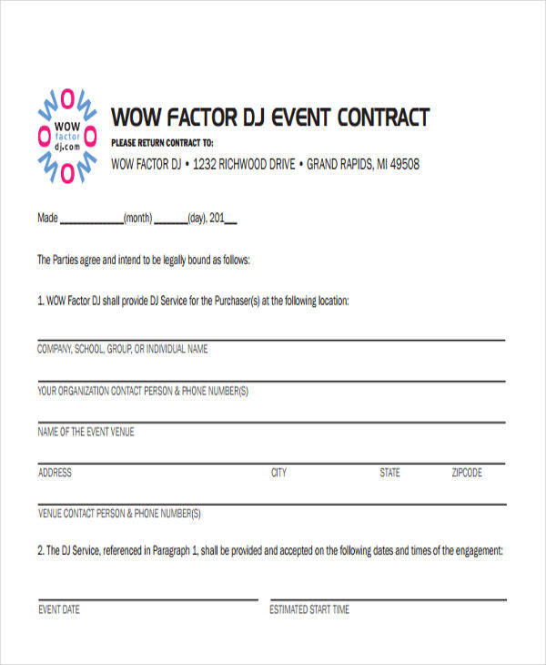 Dj Contract Dj Contract Template Dj Contract Templates Free Word