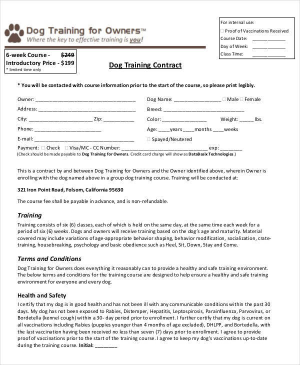 8 Training Contract Samples & Templates