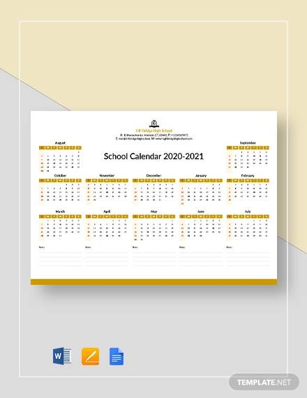 editable school calendar template