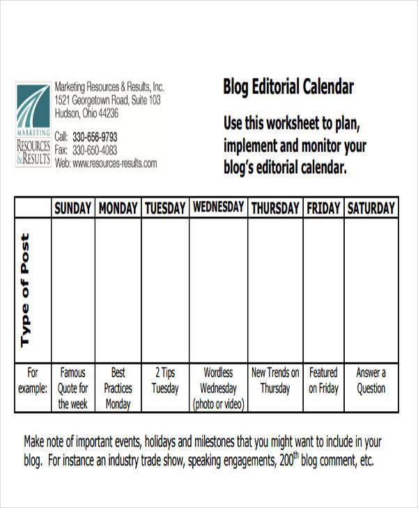 editorial blog calendar