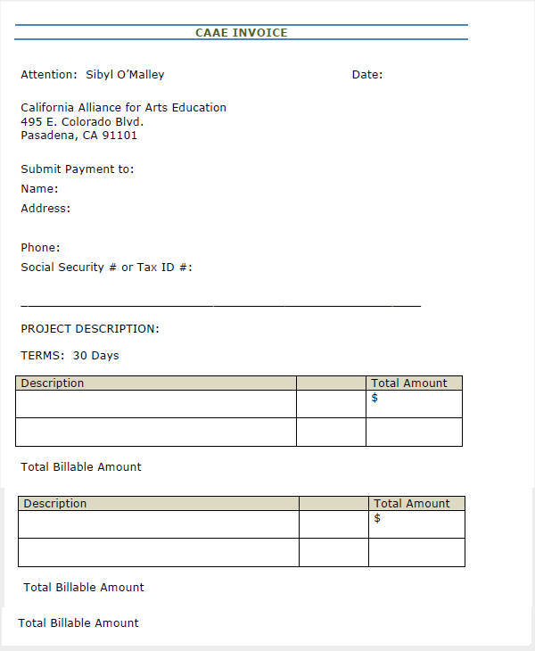 32 Blank Invoice Templates