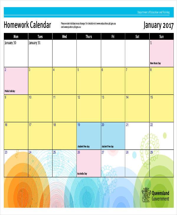 elementary homework calendar templates
