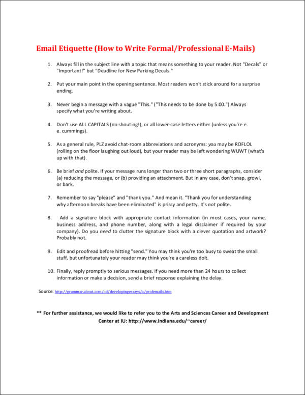 email etiquette how to write formal professional e mail