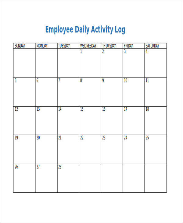 22 Daily Log Templates In Word