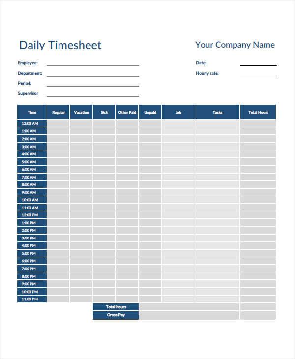 42  timesheet templates