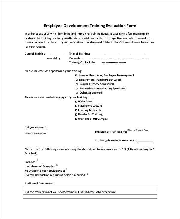 employee development training evaluation