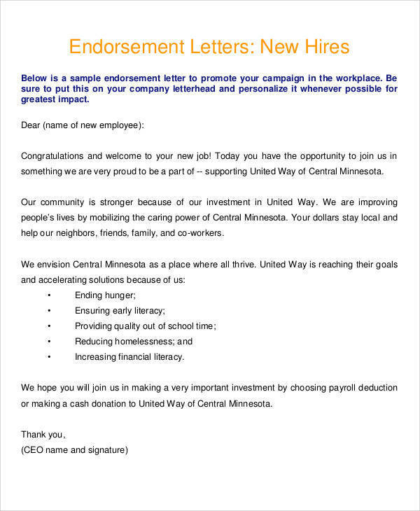 employee endorsement letter