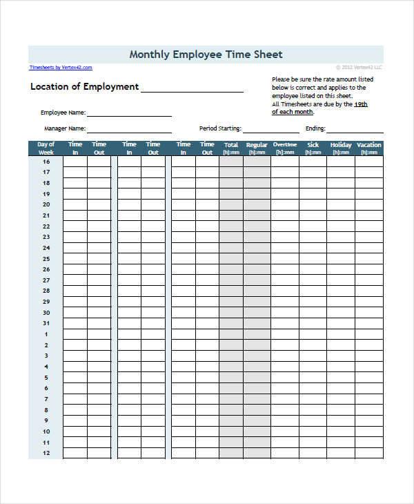employee monthly timesheet