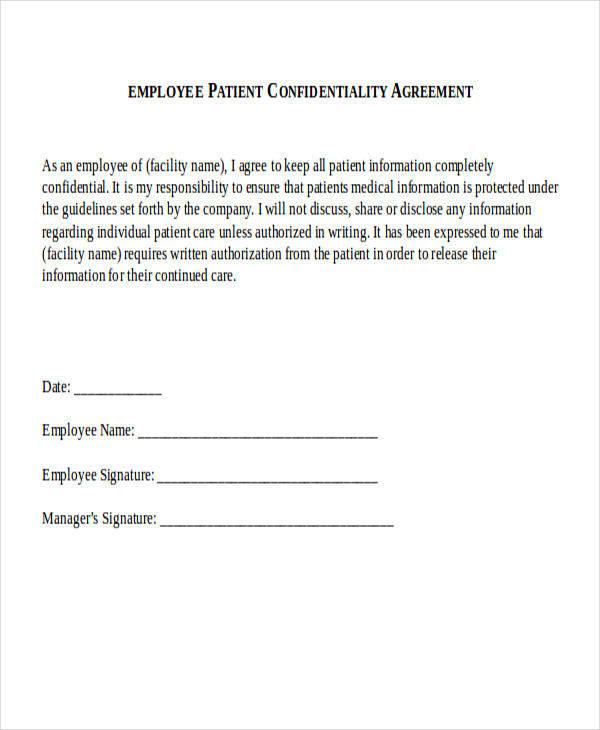 employee patient agreement