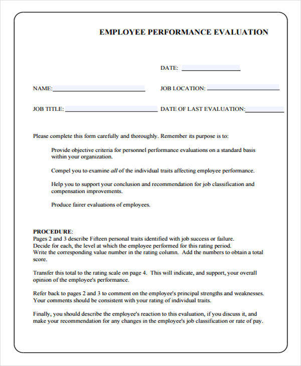 employee performance evaluation form
