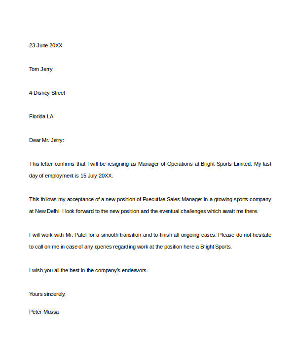 Employee Resignation Letter Example