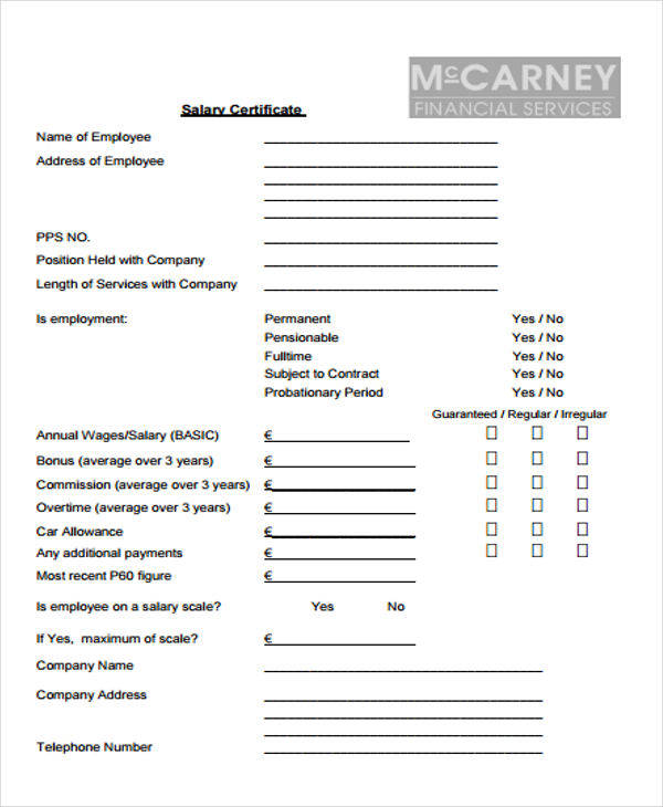 employee salary certificate