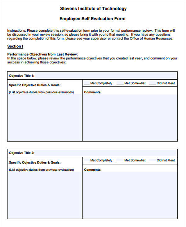 Employee Evaluation Forms In Pdf