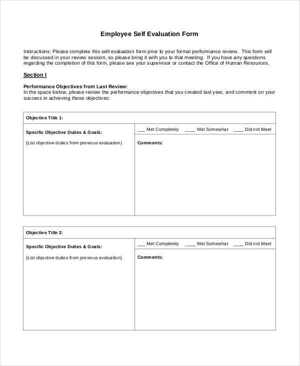 self evaluation template for employees - 20 employee evaluation form samples templates sample