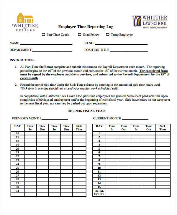 employee time reporting log