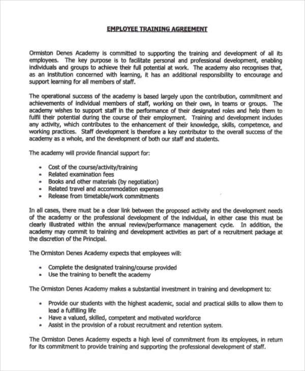 Good Employee Training Contract To Employee Training Contract Sample