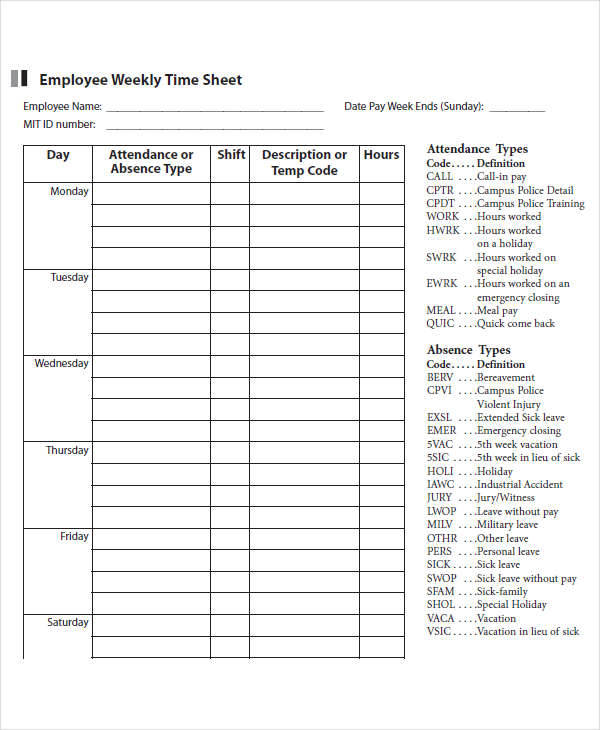 42 Timesheet Templates