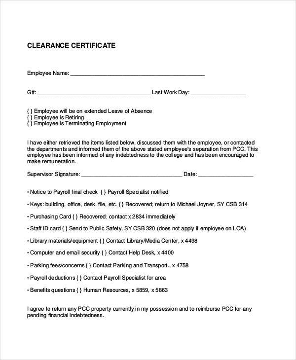 employment clearance certificate