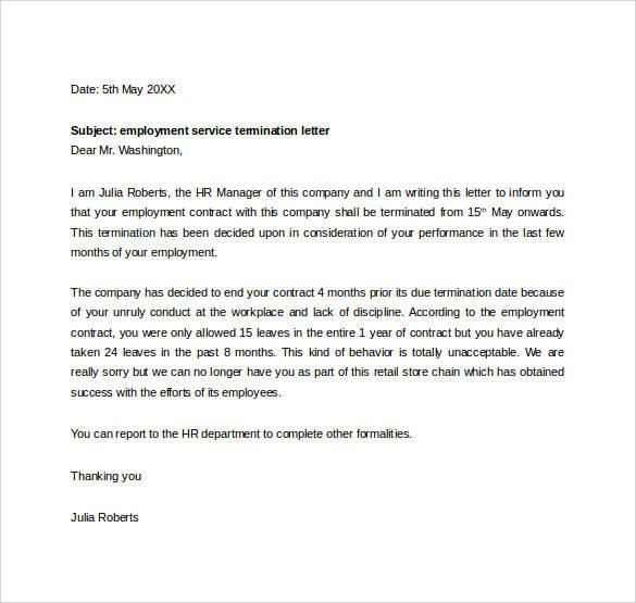 sample termination letter for the workplace