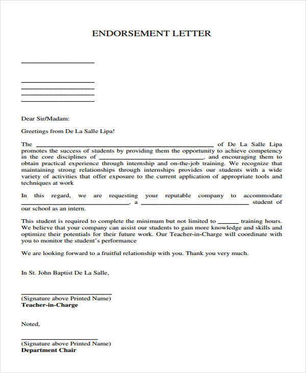 Sample Endorsement Letter Samples  Templates  Pdf Doc