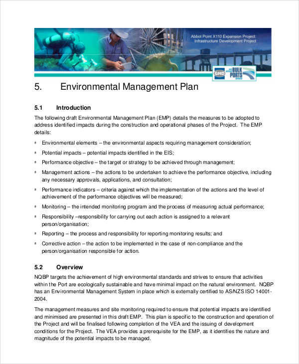 7 management plan samples templates sample templates for Environmental protection plan template