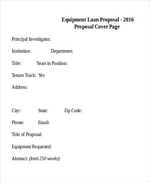 equipment loan proposal