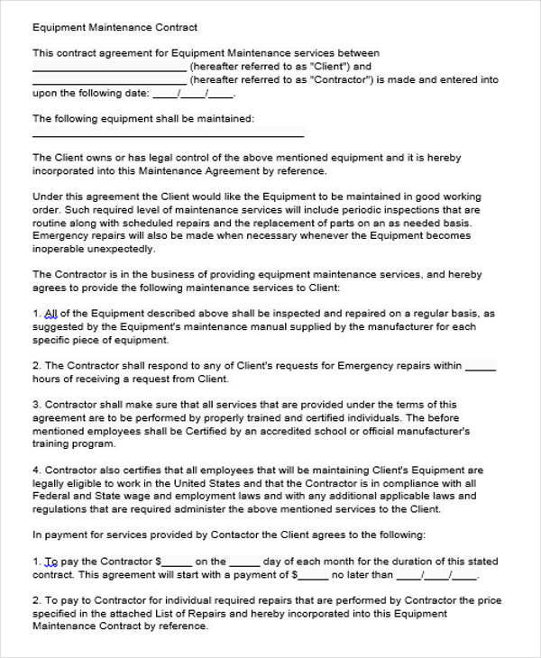 Equipment Maintenance Contract Agreement2