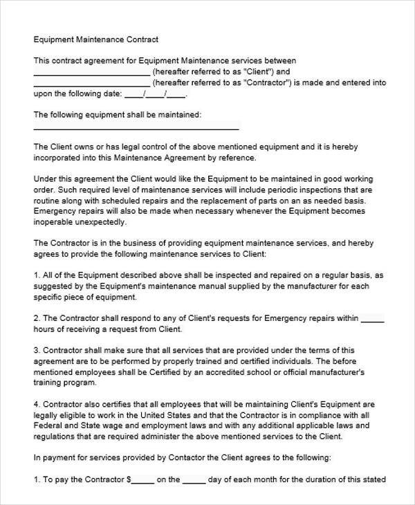 equipment maintenance contract agreement3