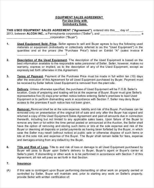 9 Sales Agreement Contract Free Sample Example Format Download – Sales Contract Agreement