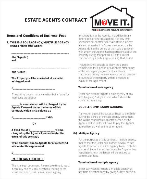 Agent Contract Samples  Templates In Pdf