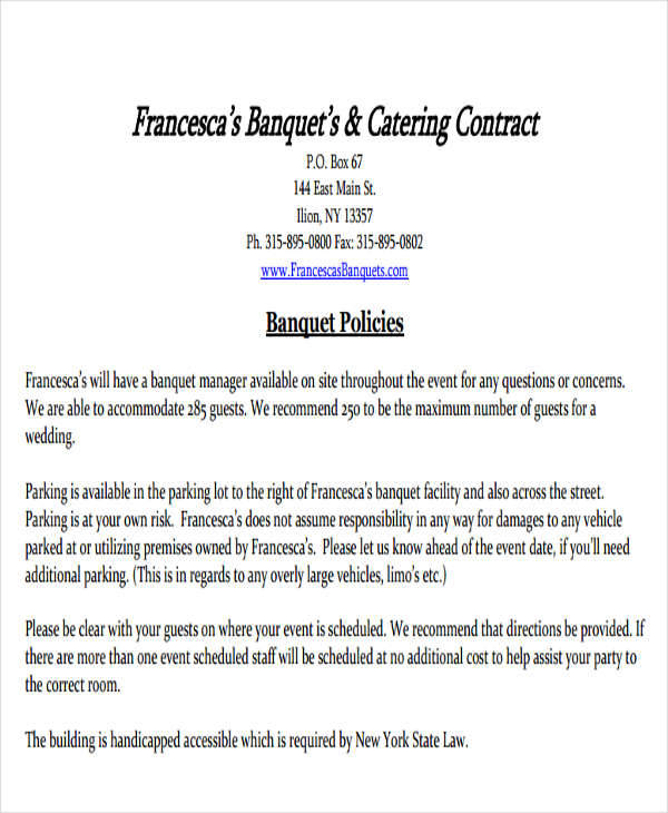 event catering contract