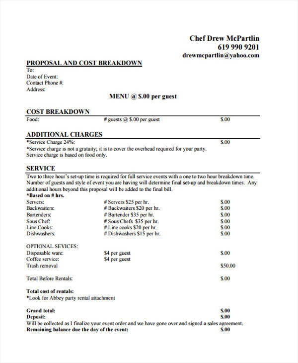Catering Proposal Template  Examples In Word Pdf