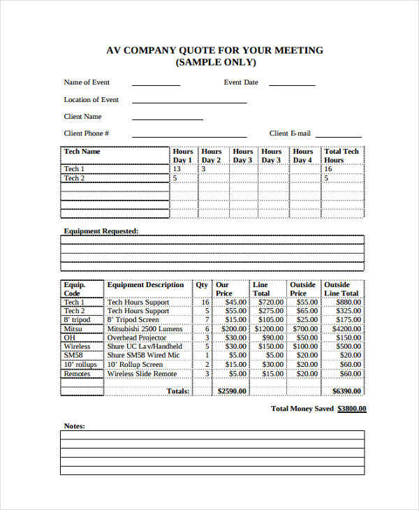 Company Quotation Samples  Templates  Pdf Doc