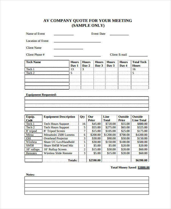 8 company quotation samples  u0026 templates