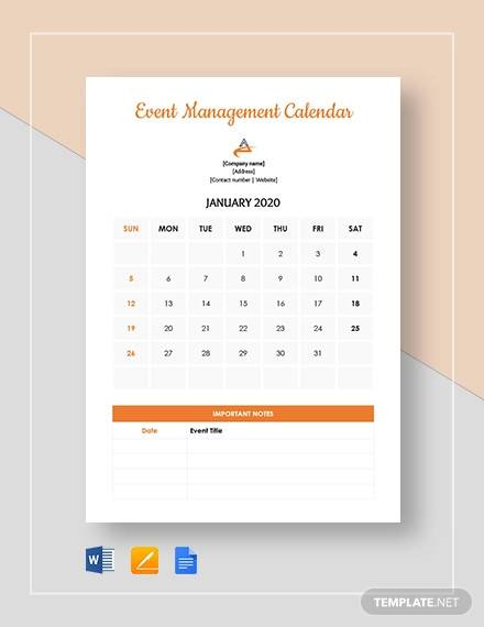 event management calendar template