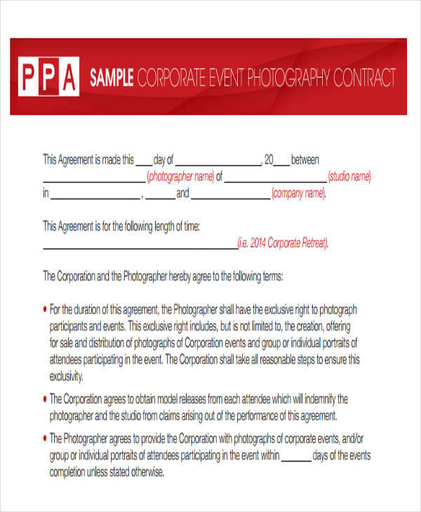 event photography contract templates