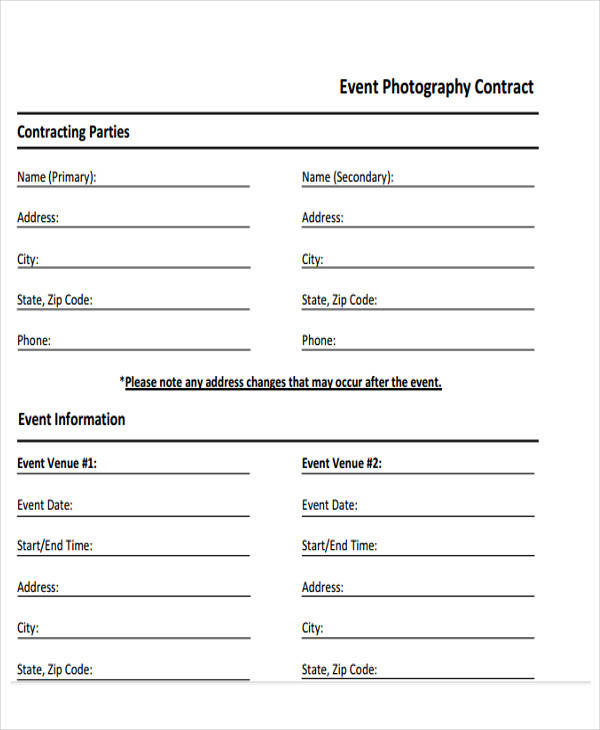 15 Event Contract Templates Sample Example Format