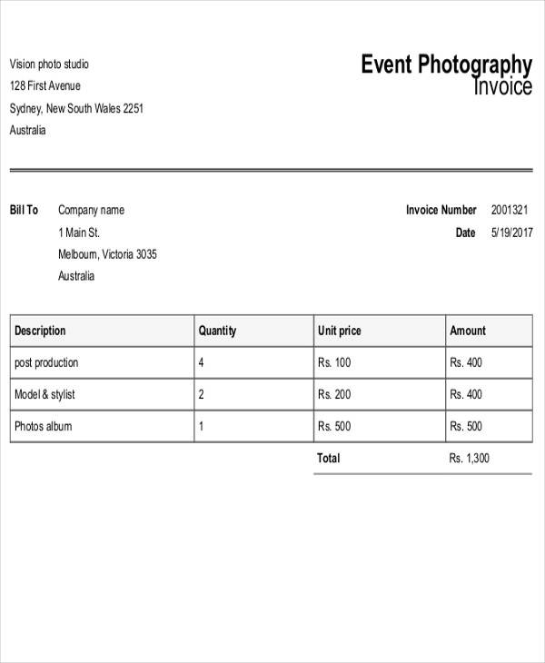 6  sample photography receipt template