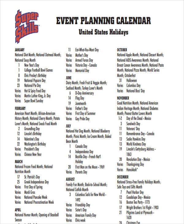 event planner calendar