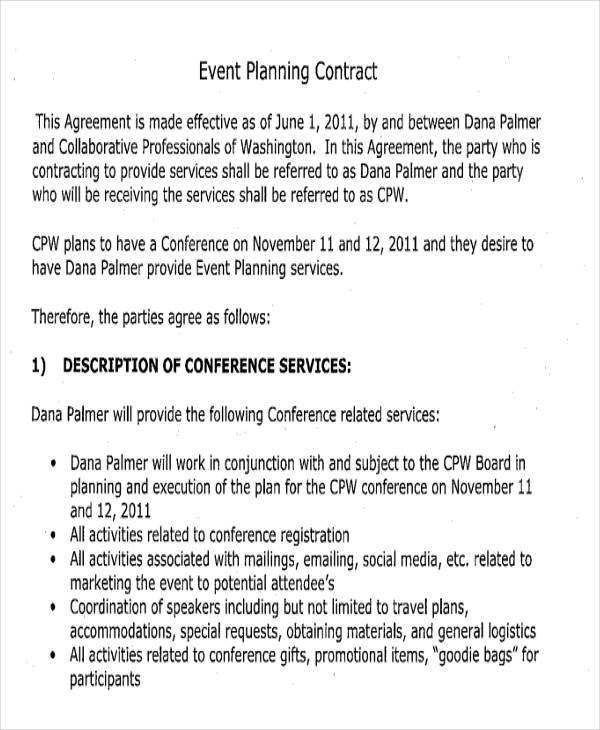 Planner Contract Templates