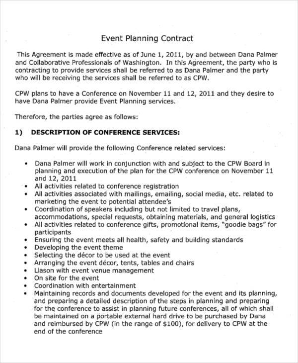 Planner Contract Samples  Templates  Pdf Doc